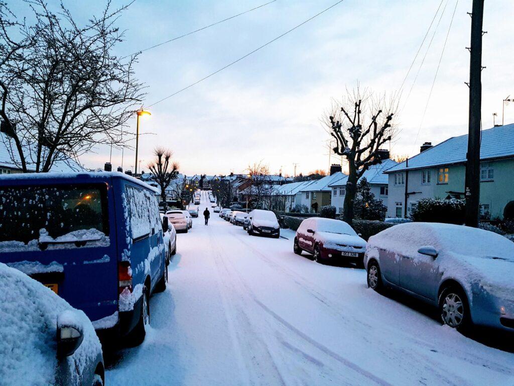 UK Street in Winter. Hard day for Boiler Fitters